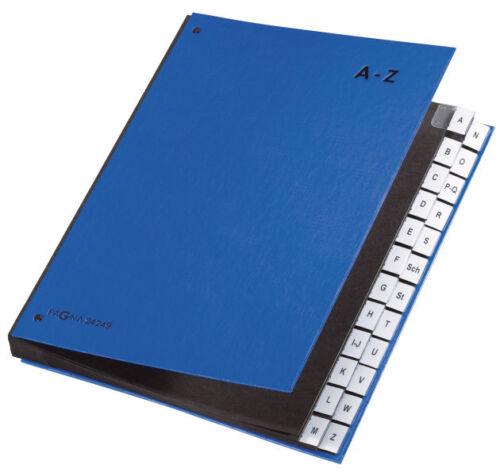A4 Vorordner mit Eckspanngummi Pagna Pultordner A-Z 24 Fächer Farbe wählbar