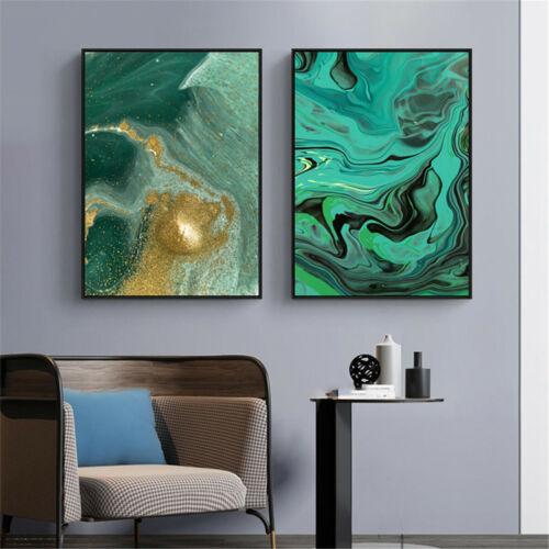 Abstrakte Kunst fließende Farbe Dunkel Grün Leinwand Malerei Poster Wand Decor
