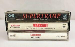 Lot-of-3-Cassette-Tapes-Supertramp-Warrant-Loverboy-80-039-s-Glam-Pop-Rock