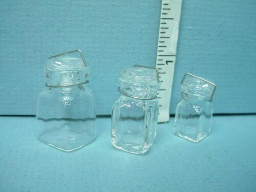 S,M,L 1//12th Scale Miniature Glass Canning Jars Sq #HB121