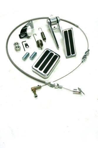 "Aluminum 2 Pad Gas Pedal /& Brake Pad 24/"" SS Throttle Cable Bracket Spring Kit"
