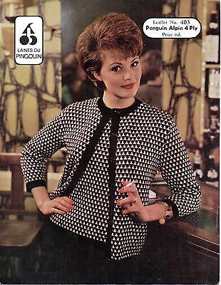 """P403 Vintage Tejer patrón para mujer Classic suéter cárdigan 4 Capas 34-38 /"""""""