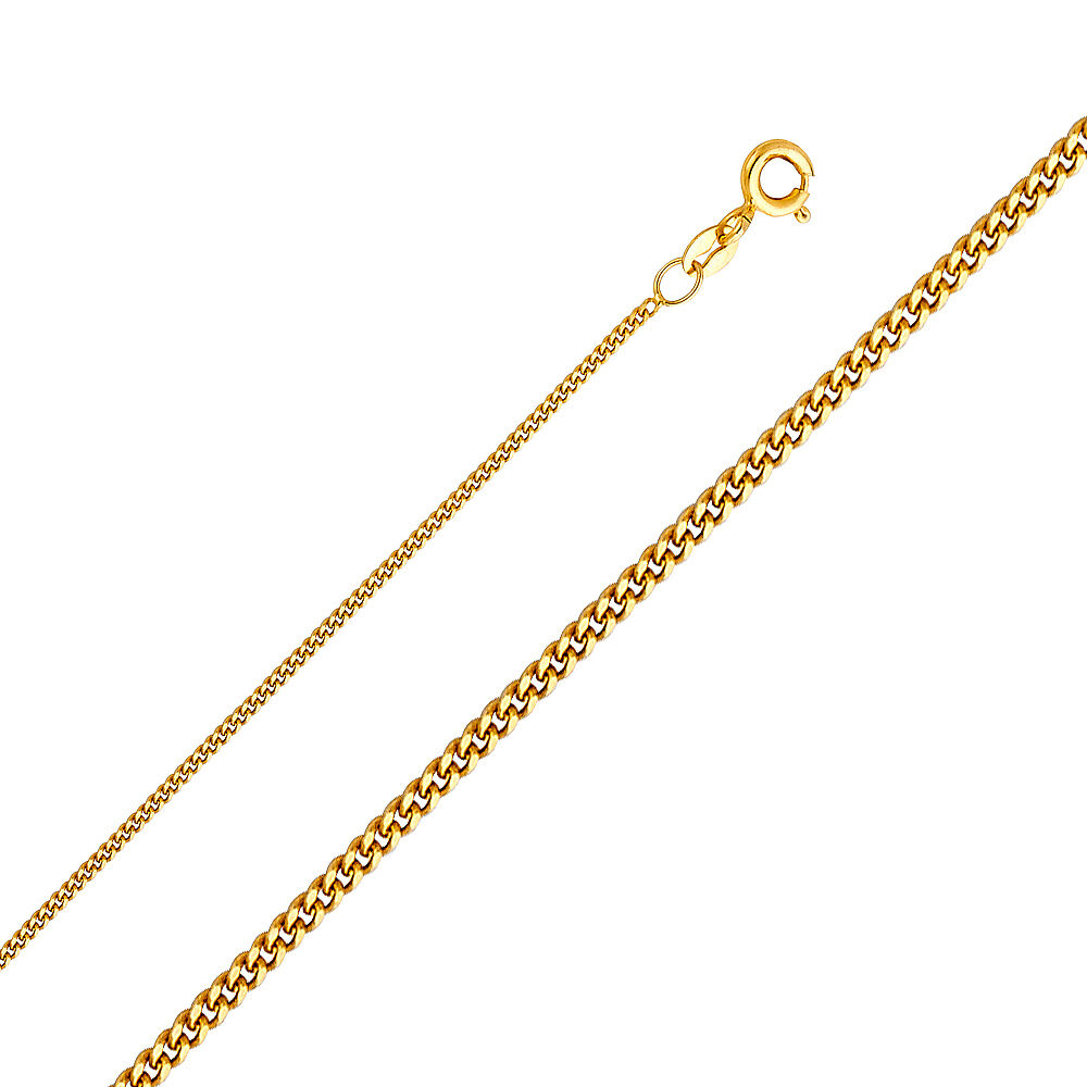 14K Yellow White gold 0.7 mm, 0.9 mm, 1.1 mm, 1.3 mm Light Curb Chain 16-22