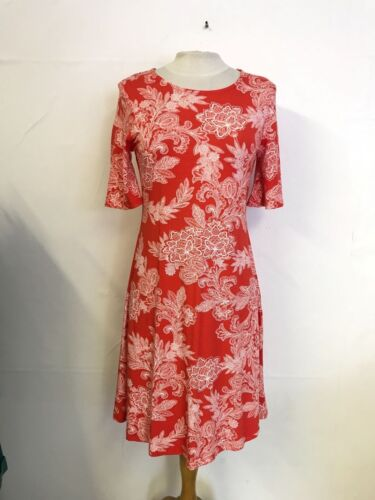 Ex Marks and Spencer m/&s collection motif floral orange Taille 8 Robe OR1