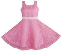 Flower Girl Dress Pink Rose Wedding Pageant Size 3 4 5 6 7 8 9 10 11 12 Formal