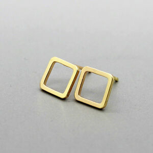 Image Is Loading Modern Diamond Shaped Earrings Gold Simple Stud