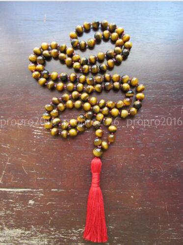 Tigers Eye 108 Beads Mala Tassel Jewelry Prayer Bead Meditation Knotted Necklace