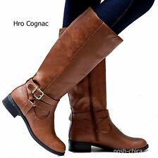 c61ac792f30 Women Gc1 Cognac Brown Black Buckle Riding Knee High Cowboy BOOTS ...