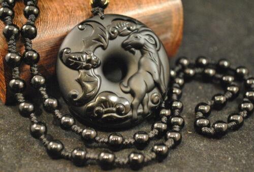 Ziege//Scharf Chinesisches Sternzeichen Tierkreiszeichen Jade Anhänger Obsidian