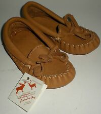 SHOE MOCCASINS HANDMADE WILD DEER MOOSE HIDE LAURENTIAN CHIEF CANADA KIDS SZ 6.5