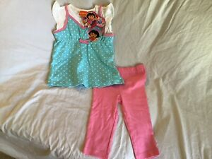 DORA-THE-EXPLORER-Girls-4T-Outfit-2-Piece-Pants-Blue-amp-Pink-Polka-Dot-NWT