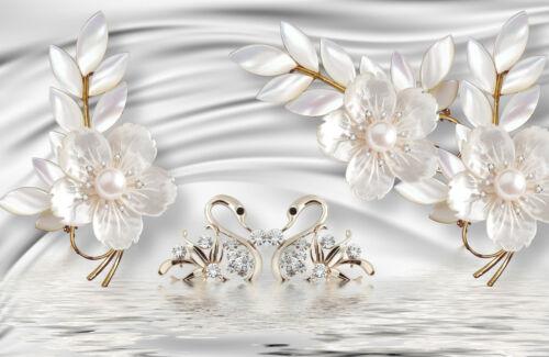 Nappes Papier Peint-Abstrait Design Optique ORNEMENT cygnes Fleurs Diamants 2031 V