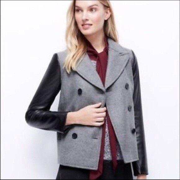 ANN TAYLOR Petites Wool & Vegan Leather Pea Coat PS Petite Small EUC