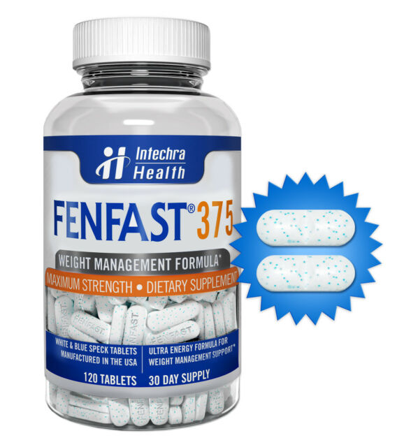 FENFAST® 375 Best Weight Loss Diet Pills Maximum Strength 120 White/Blue Tablets