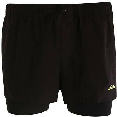 Asics Woven 2 In 1 Womens Running Shorts - Black