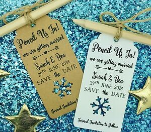 Snowflake Pencil Us In Save The Date Card Invitation For Winter Wedding