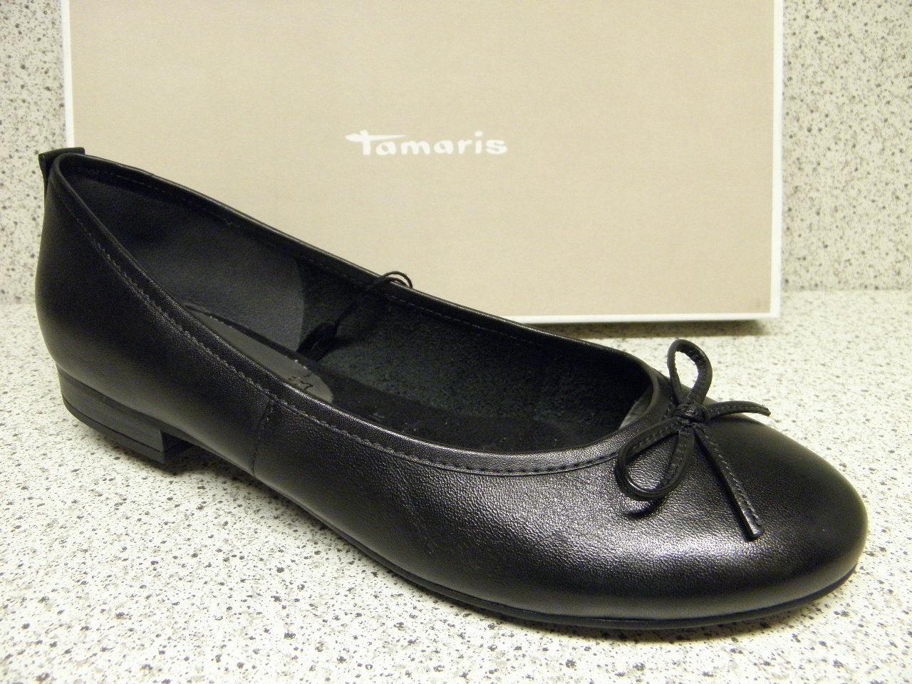 Tamaris ® ROTuziert  SALE Ballerina schwarz Leder   (Ta42)