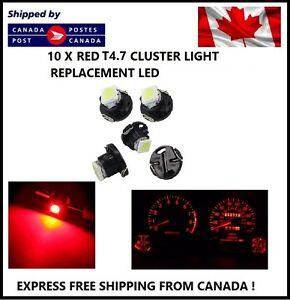 10x T5 T4.7 5050 1SMD RED LED Bulbs Dashboard Cluster Gauge Side Light DC12V
