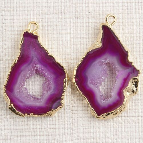 Real Colorful Crystal Geode Slice Druzy Gold Plated DIY Earring Pair Connectors