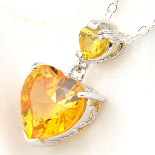 Gentle Heart Shaped Natural Golden Citrine Gemstone Silver Necklace Pendants