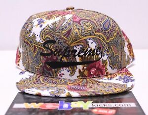 c851a8a6d92 Supreme New York Paisley White Yellow Purple 5 Panel Snapback Cap ...