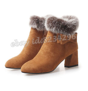 more photos 5d952 232ab Details zu Vogue Kurzer Stiefeletten Damen Boots Winterschuhe Ankle Stiefel  Kunstpelz 34-43