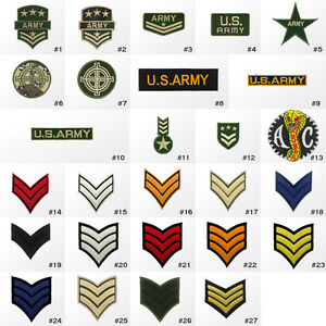 Details about #1423R Military Army Soldier Rank Insignia Embroidered Sew  Iron on Patch Badge