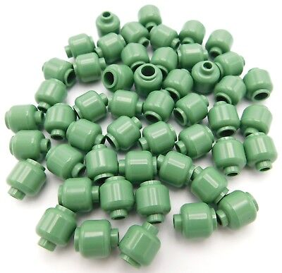 LEGO LOT OF 50 NEW SAND GREEN PLAIN COLORED MINIFIGURE HEADS PIECES