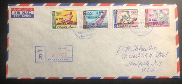 1966 Manama Ajman Airmail Cover Pour New York Usa Jeux Olympiques De Tokyo Games Stamps
