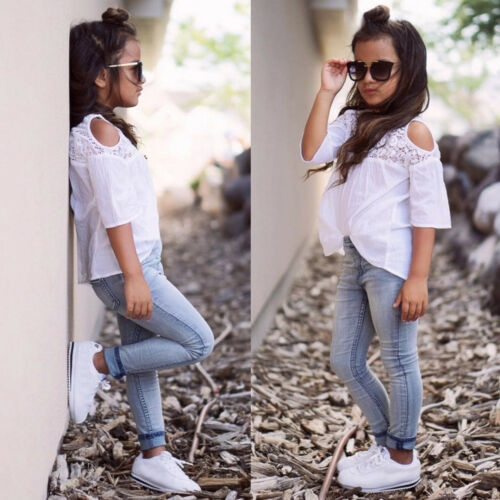 Kids Toddler Baby Girls Off Shoulder Lace Shirt Tops+Jeans Pants Outfits Clothes