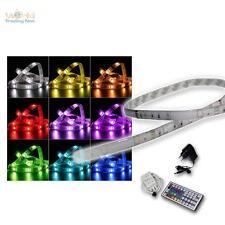 SET 1m RGB-Stripe IP44 mit Netzteil & Fernbedienung Leuchtstreifen Lichtband LED