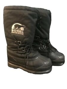 Sorel-Glacier-Winter-Boots-Womens-Sz-7-Insulated-Pull-On-Snow-Boots-Black
