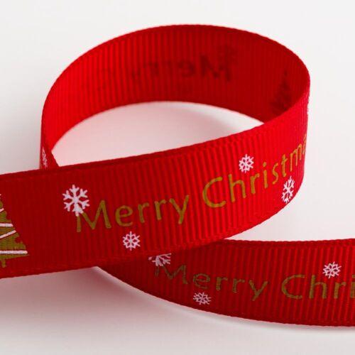 Christmas Grosgrain Ribbon 9mm /& 16mm Wide 5mtr Reel