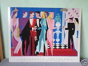 VINTAGE-1984-GIANCARLO-IMPIGLIA-NIGHT-PEOPLE-I-ART-DECO-POSTER-PRINT-ON-BOARD