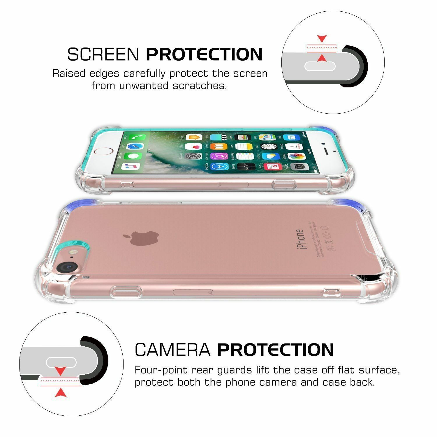 For Apple Iphone 7 Plus Case Clear Hybrid Slim Shockproof Soft Tpu 6 6s Anti Crack Shock Softcase Ultrathin Bumper Cover Ebay
