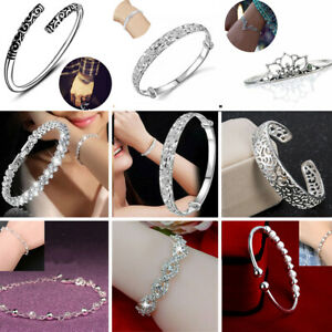 925-Sterling-Silver-Women-Crystal-Beads-Wristband-Chain-Bangle-Cuff-Bracelet