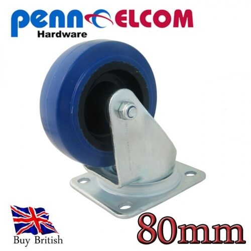 Penn Elcom 80mm Blue Wheel Swivel Castor Flightcase Fittings
