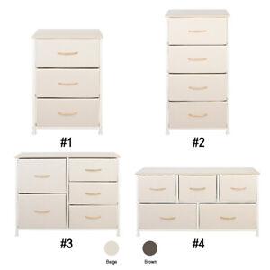Fabric Dresser Chest 3/4/5 Drawers Furniture Bedroom Storage Organizer Wood Top