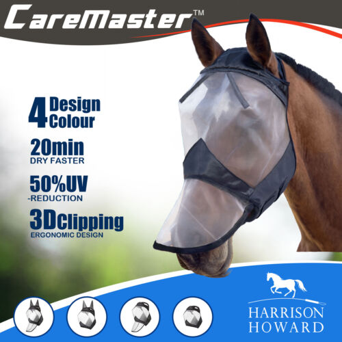 Harrison Howard CareMaster Fly Mask Full Face No Ears Black//Silver Retro Free PP