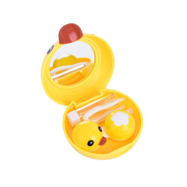 Yellow Duck Contact Lens Case Travel Mirror Tweezers Solution Storage Kit、Pop