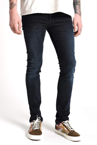 Nudie-Herren-Slim-Skinny-Fit-Stretch-Jeans-Hose-Tube-Tom-Black-Carbon