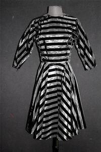 RARE-VINTAGE-1950-039-S-DESIGNER-BLACK-VELVET-amp-BLACK-TAFFETA-STRIPED-DRESS-SIZE-6-8
