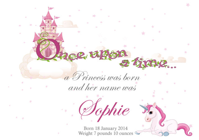 Personalised Name Baby Girl, Princess Castle, Unicorn, Art Print, Gift, Wall Art
