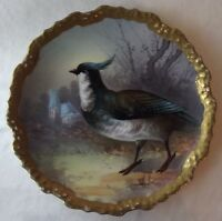 ANTIQUE LIMOGES CORONET HANDPAINTED GAME BIRD CHARGER COLLECTOR PLATE - SIGNED