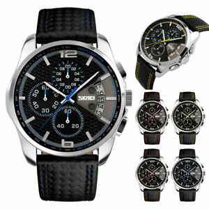 cad243c37 Image is loading Men-Waterproof-Leather-Aviator -Army-Military-Chronograph-Date-