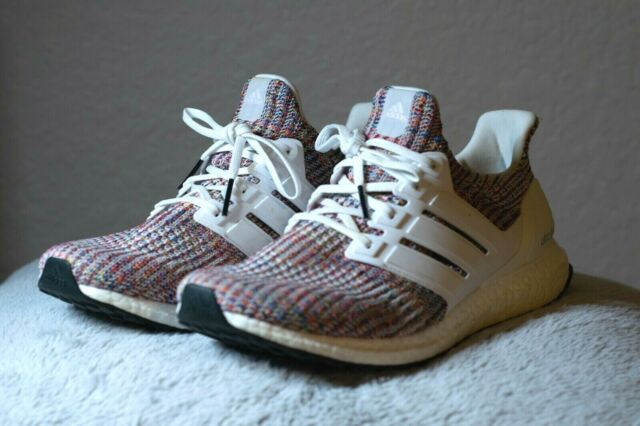 Adidas Ultra Boost 4.0 White/Rainbow Size 11 Men's Running Shoes CM8111