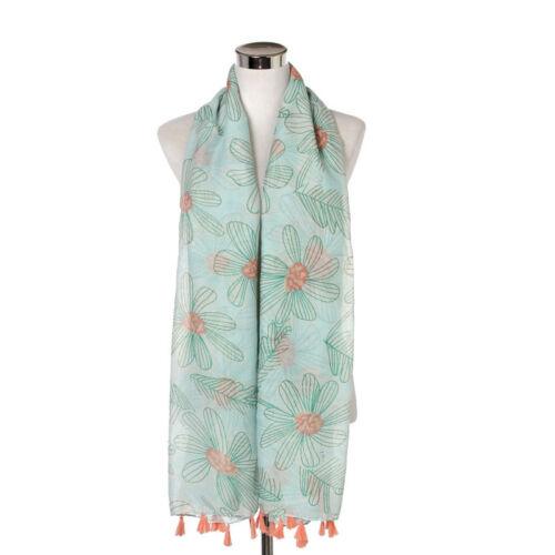 Écharpe d/'été wrap gras ligne Fleur Imprimer doux viscose coton foulards pour FEMME