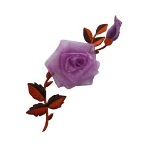ID 6460 Purple Flower On Vine Patch Plant Garden Embroidered Iron On Applique