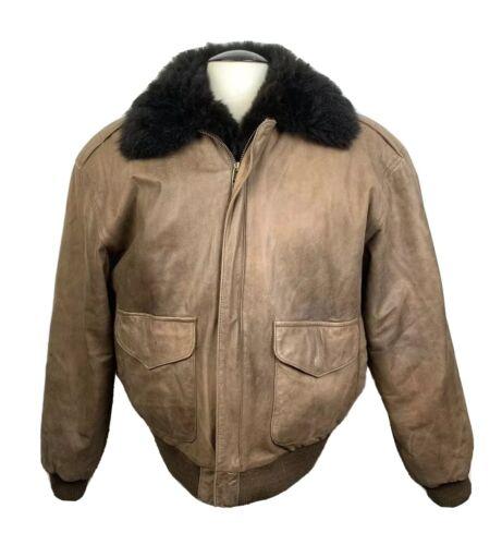 Vintage Jacket Leather Pilot Flight Brown Fur Size