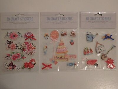B136 1 Pack of Handmade Glittered and Foiled 3D Stickers /'Nature/'